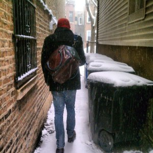 Intrepid boyfriend venturing out into this nearly-spring snowy wonderland.