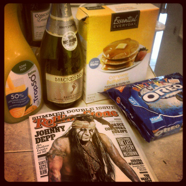 Okay, so I snuck some Johnny Depp in there. Had to. But Johnny + pancakes + mimosas + birthday cake oreos is a pretty spot-on combination.