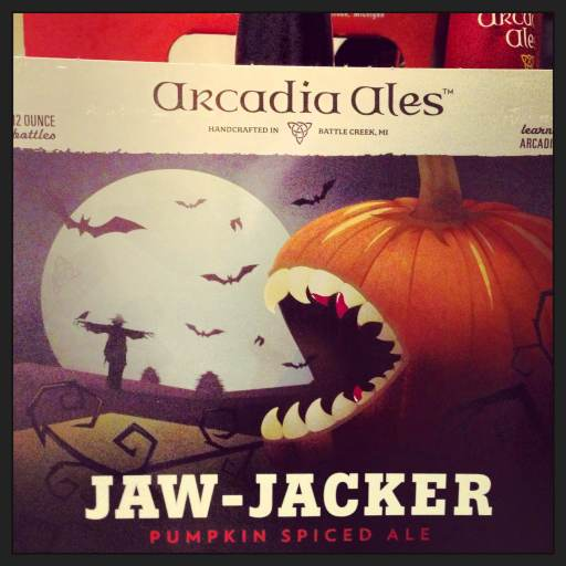 If fall beer is out, it means it's fall. And don't you just love this fanged pumpkin?