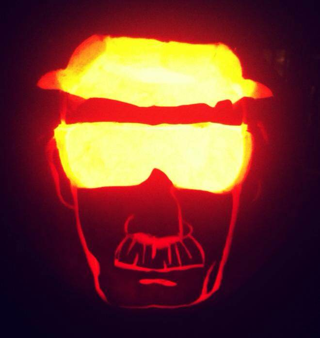 My boyfriend's Heisenberg pumpkin. What a show-off. (Hi, love! Just kidding!)
